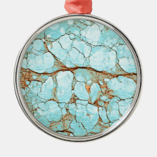 Rusty Cracked Turquoise Metal Ornament