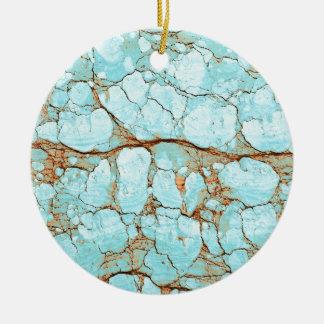 Rusty Cracked Turquoise Round Ceramic Decoration