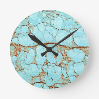 Rusty Cracked Turquoise Round Clock