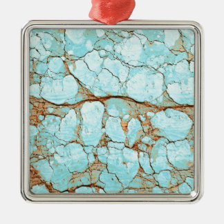 Rusty Cracked Turquoise Silver-Colored Square Decoration
