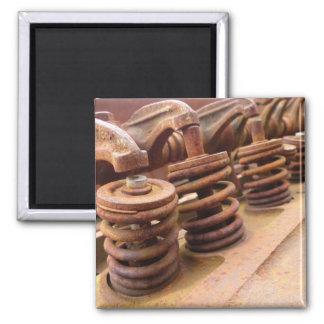 Rusty Engine Block Square Magnet