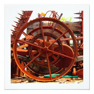 "Rusty junk metal farm equipment steampunk machines 5.25"" square invitation card"