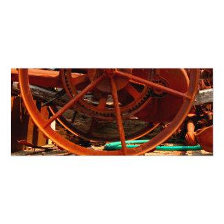 """Rusty junk metal farm equipment steampunk machines 4"""" x 9.25"""" invitation card"""