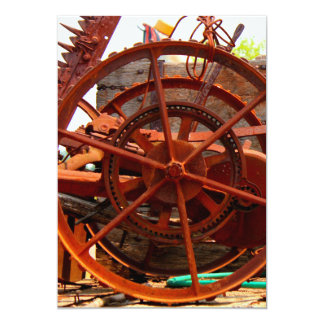 """Rusty junk metal farm equipment steampunk machines 5"""" x 7"""" invitation card"""