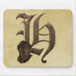 Rusty Knight Initial H Mousepads
