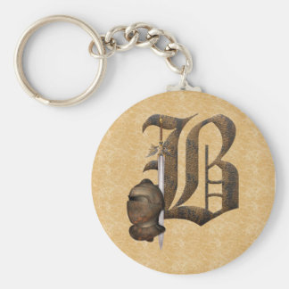 Rusty Knights Initial B Basic Round Button Key Ring