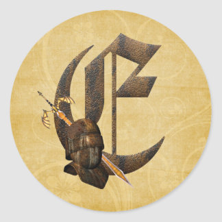 Rusty Knights Initial E Classic Round Sticker