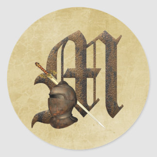 Rusty Knights Initial M Classic Round Sticker