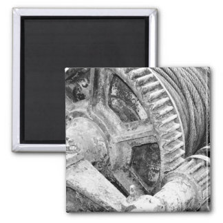 Rusty machinery square magnet