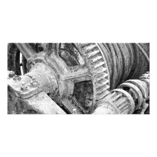 Rusty machinery personalized photo card