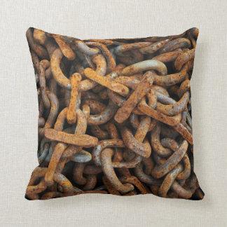 Rusty Metal Chain Link Pillow Cushion