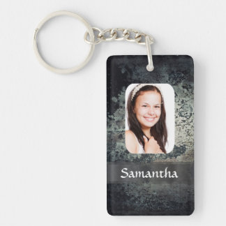 Rusty metal photo template key ring