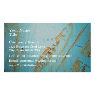 Rusty metal with a crack of blue business card template