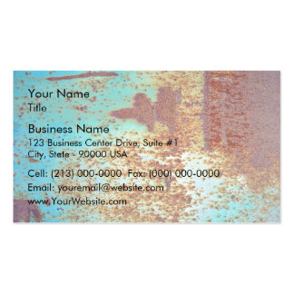 Rusty Metal With Blue Scratched Paint Business Card Template