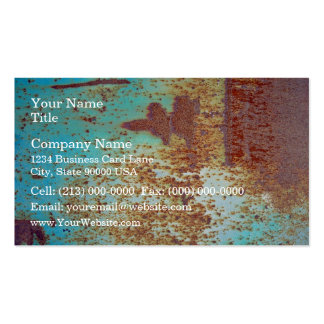 Rusty Metal With Blue Scratched Paint Business Cards