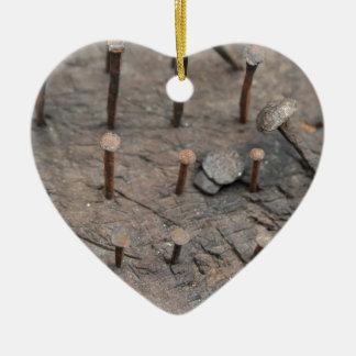 rusty nails ceramic heart decoration