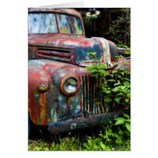 Rusty Old Antique Truck Card