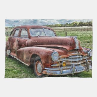 Rusty Old Classic Car Vintage Automobile Tea Towel
