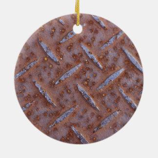 Rusty Old Metal Texture Round Ceramic Decoration