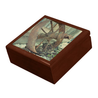 Rusty Old Wheel Large Square Gift Box