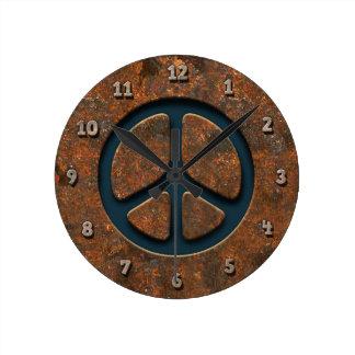 Rusty Peace Sign Round Clock