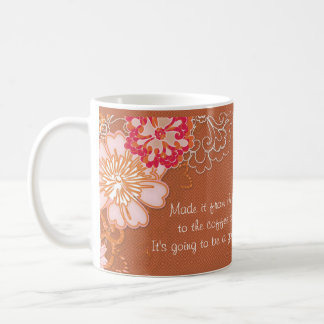 Rusty Red Damask with Big Flowers Classic Mug