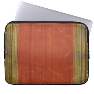 Rusty Red Green Stripes Laptop Computer Sleeve