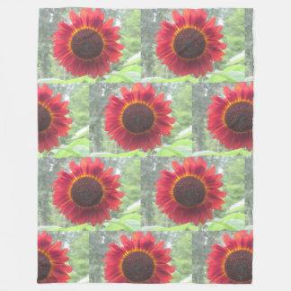 Rusty Red Sunflower Fleece Blanket