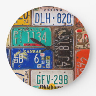 rusty retro license plate collection large clock