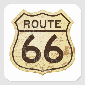 Rusty Route 66 Square Sticker