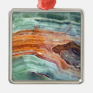 Rusty Sagey Minty Quartz Silver-Colored Square Decoration