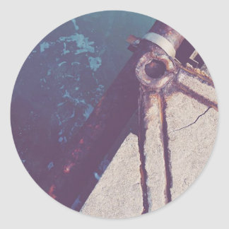 Rusty sea classic round sticker