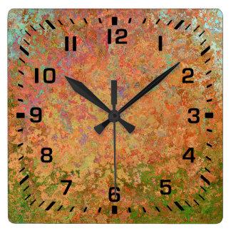 Rusty sheet square wall clock