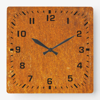 Rusty Square Wall Clock