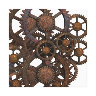 Rusty Steampunk Metal Gears Canvas Print