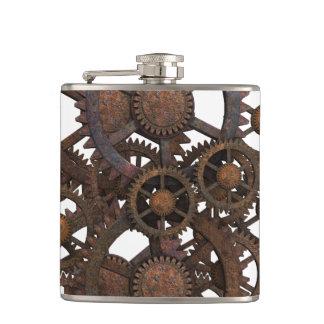 Rusty Steampunk Metal Gears Hip Flask