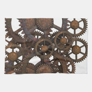 Rusty Steampunk Metal Gears Tea Towel