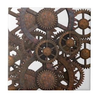 Rusty Steampunk Metal Gears Tile