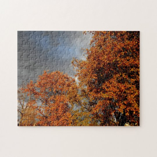 Rusty Trees And Dark Clouds Jigsaw Puzzle