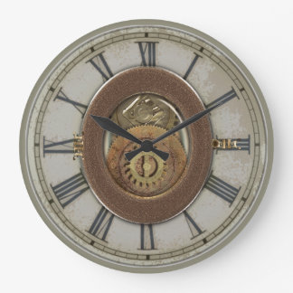 Rusty Vintage Cogs Steampunk Large Clock