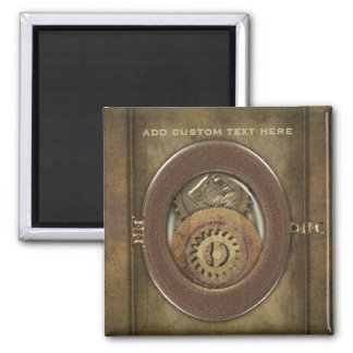 Rusty Vintage Cogs Steampunk Square Personalized Magnet
