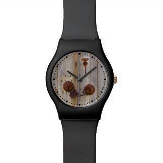 Rusty vintage iron padlock wooden door  dial-plate watch