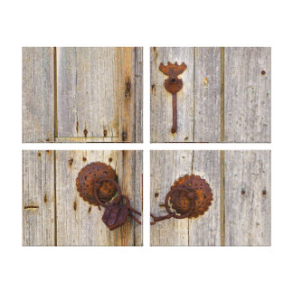 Rusty vintage old iron padlock on a wooden door __ canvas print