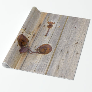 Rusty vintage old iron padlock on a wooden door -, wrapping paper