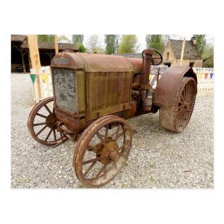 Rusty vintage tractor postcard