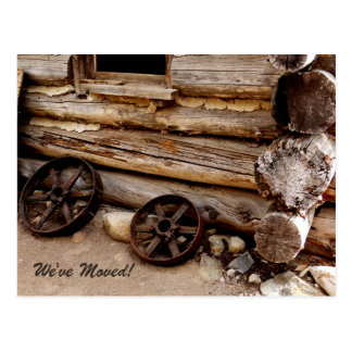 Rusty Wagon Wheels New Address Announcement Postcard