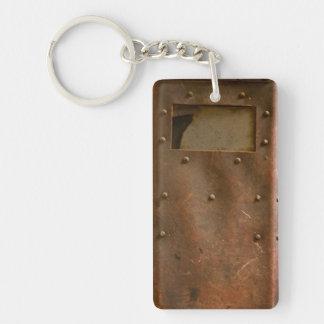 Rusty welding helmet key ring