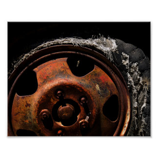 Rusty Wheel Torn Tire Macro Photograph Poster