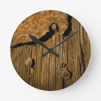Rusty wood background round clock