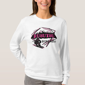 Rusutsu Hokkaido Japan pink ski logo ladies hoodie